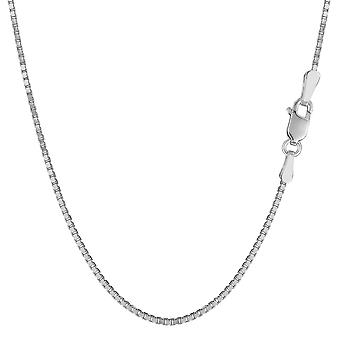 14k White Solid Gold Mirror Box Chain Necklace, 1.2mm
