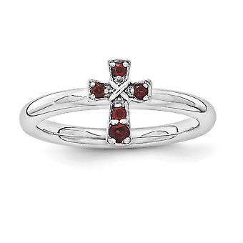 2.25mm 925 Sterling Silver Stackable Expressions Rhodium Garnet Religious Faith Cross Ring Jewelry Gifts for Women - Rin