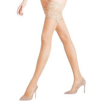 Falke Seidenglatt 15 Den Stay Up Transparent Floral Stockings - Powder Beige