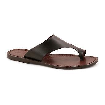 Bruin lederen thong sandalen voor vrouwen handgemaakte