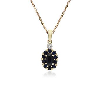 Cluster Round Sapphire & Diamond Oval Pendant Necklace in 9ct Yellow Gold 135P1912029