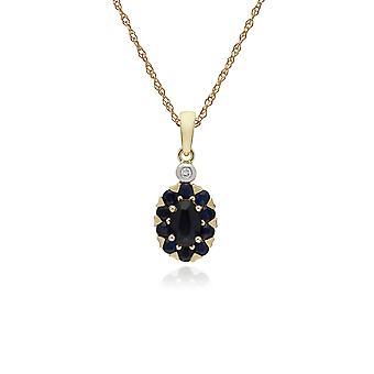 cluster runde safir & diamant oval anheng halskjede i 9ct gult gull 135P1912029