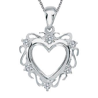 Colgante de corazón de diamantes de oro blanco LXR 14K