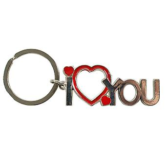 TRIXES I Love You Keyring Pendant with Heart Motif  – Metal -3mm Split Ring – Silver and Red Colour