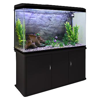 Aquarium Fish Tank & Cabinet with Complete Starter Kit - Black
