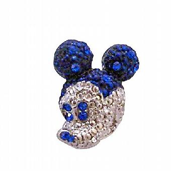 Sapphire Crystals Sparkling Silver Casting Cute Mickey Mouse Brooch