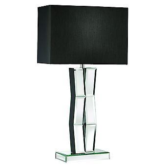 Lámpara de mesa de madera negra con cristal de espejo y pantalla en negro - reflector 5110BK