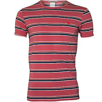 Scotch & Soda Stripe Cotton Stretch Crew-Neck T-Shirt, Faded Pink