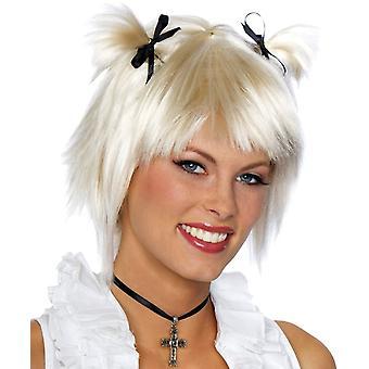 Korte School meisje blond Peruke