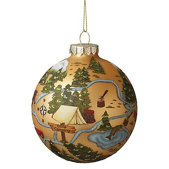 Gone Camping in Forest Pitch a Tent Round Glass Ball Ornament