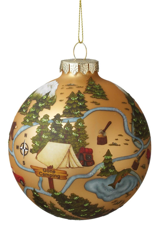 Gått Camping i skogen Pitch telt rundt Glass Ball Ornament