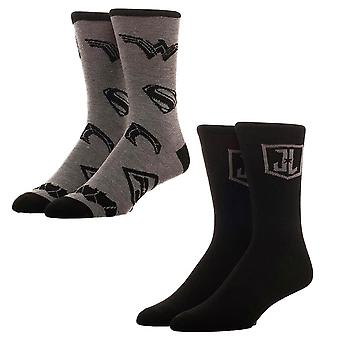 Men's Justice League Logo Crew Socks (2 Pairs)  - ONE SIZE