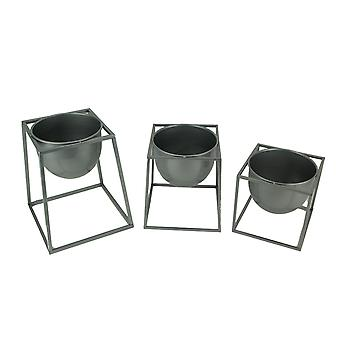 Metallic Silver Metal Modern Planter Bowls in Angular Stands Set of 3