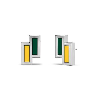 University Of Vermont Sterling Silver Asymmetric Enamel Stud Earrings In Green and Yellow