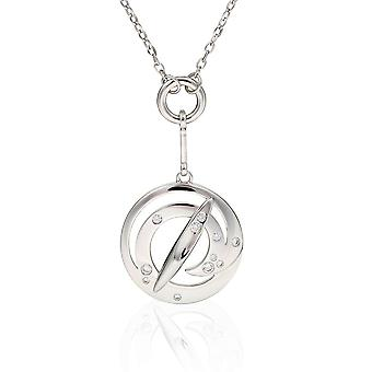 PENDANT WITH CHAIN ROUND 925 SILVER WITH ZIRCONIUM