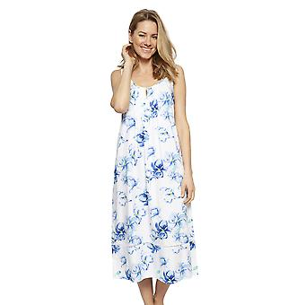 Cyberjammies 1317 Women's Nora Rose Thea Blue Mix Floral Cotton Long Nightdress