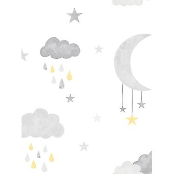 Little Ones Eco Clouds and Moon Wallpaper GranDeco