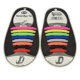 Trendy schoenveters die niet hoeven te worden gebonden 8 Pairs-gemengde kleur
