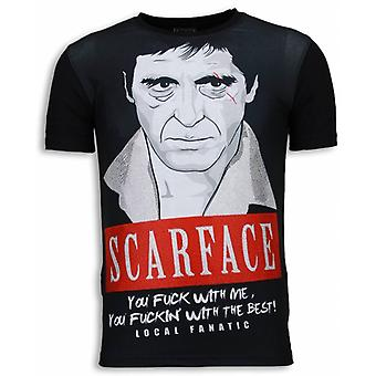 Scarface Red Scar-Digital rhinestone T-shirt-svart
