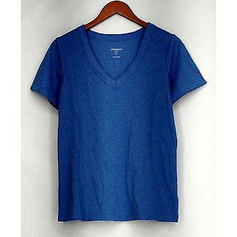 Liz Claiborne New York Top Stretch Knit Short Sleeve Tee Blue