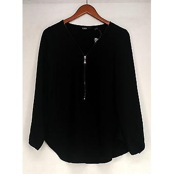 Edge by Jen Rade Top Zip Front Long Sleeves Black A258262