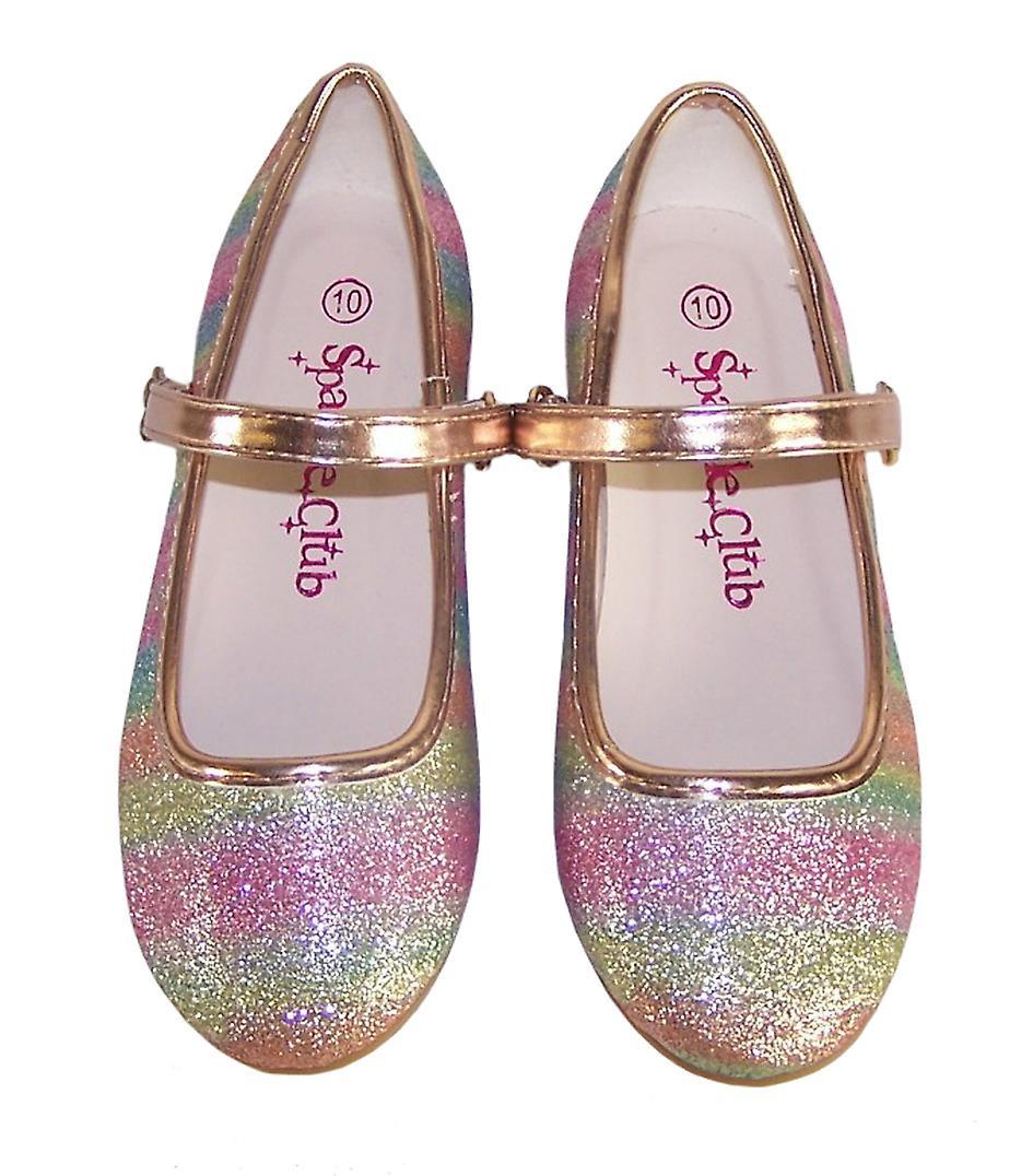 Girls sparkly rainbow coloured ballerina shoes