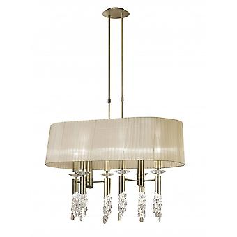 Mantra Tiffany Pendant 6+6 Light E27+G9 Oval, Antique Brass With Soft Bronze Shade & Clear Crystal