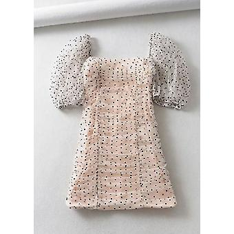 Organza Polka Dot Puffed Sleeve Ruched Mini Bodycon Abito Rosa