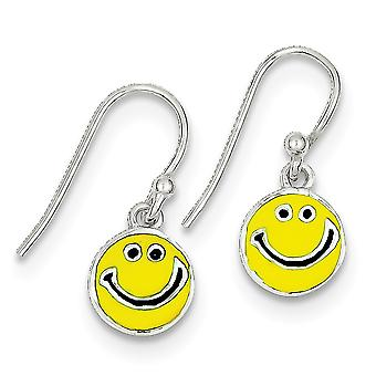 925 Sterling Silver Polished Shepherd hook Enameled Happy Face Long Drop Dangle Earrings Jewelry Gifts for Women