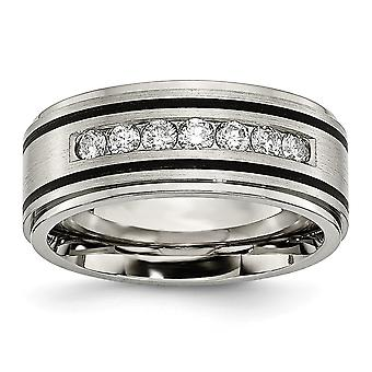 Titaani kiillotettu harjattu Emaloitu 1/2ct Tw. Diamond 9mm Band Ring korut lahjat naisille - Rengas koko: 8-13