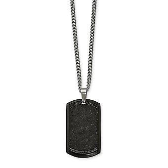 Edelstahl gebürstet Laser geschnitten schwarz Ip schwarz CZ Zirkonia simuliert Diamant Tier Haustier Dogtag Halskette 24 Zoll