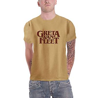 Greta Van Fleet T Shirt Band Logo new Official Mens Old Gold
