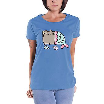 Pusheen T Shirt Mercat Logo new Official Womens Skinny Fit Blue
