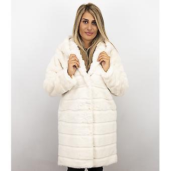 Imitation Fur Coat - Parka - White