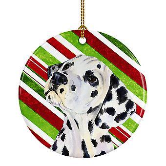 Bastón de caramelo Dalmacia vacaciones Navidad adorno cerámica SS4561