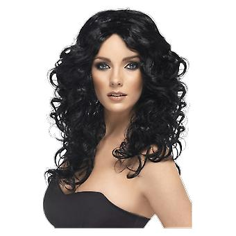 Womens Glamourous Black Curly Wig 70s Fancy Dress Costume Accessory