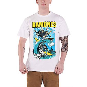 The Ramones Mens T Shirt White Rockaway Beach band logo Official