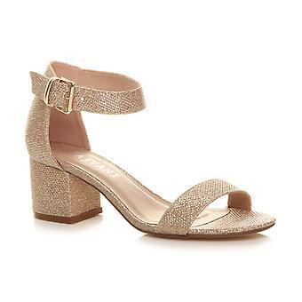 Ajvani kvinners midt blokkhæl kuttet ut snøre komfort gummi eneste aksent sko støvler sokker