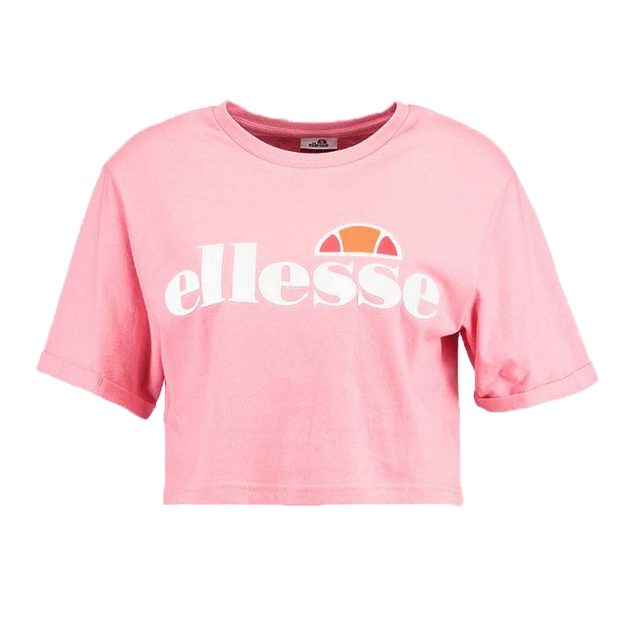 Ellesse Heritage Alberta Womens Ladies Crop Top T-Shirt Shirt Light Pink