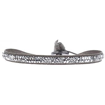 Bracelet interchangeable A24930 - fabric Brown woman Swarovski crystals Bracelet