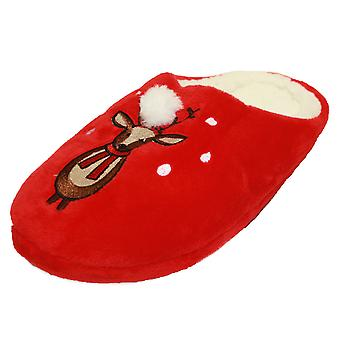 SlumberzzZ Womens Microseuede Noël brodé pantoufles Mule