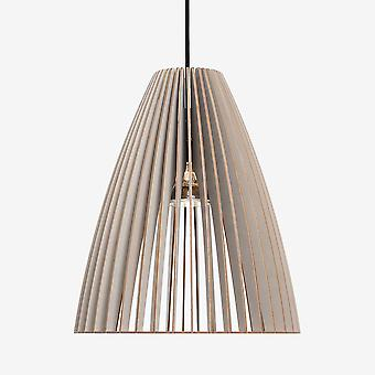 Iumi Teia Large Cone Shaped Birch Plywood Pendant Lamp - Grey