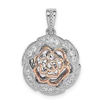 925 Sterling Silver Rhod plated and Rose tone Flower With Vibrant CZ Cubic Zirconia Simulated Diamond Pendant Necklace J
