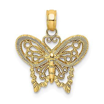 17mm 14k Gold Butterfly Cut out / High Polish Charm Jewelry Gifts for Women