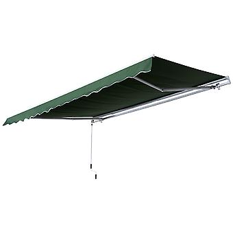 Outsunny 3.5M x 2.5M Garden Patio Manual Awning Canopy Sun Shade Shelter Retractable Gear Lever Winding Handle Green
