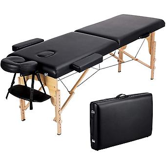 Pro Draagbare massage tafel, lichtgewicht vouwen gezicht SPA Bed Tattoo Beauty Therapy Couch Bed W / Carry BagBlack Houten