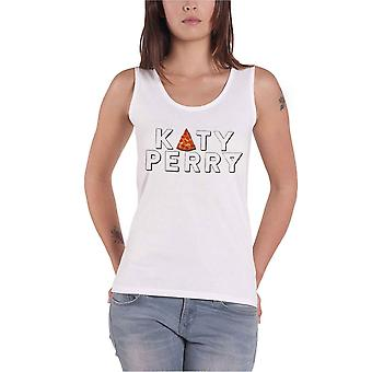 Official Womens Katy Perry Vest Top Pizza Party Block Logo New White Skinny Fit
