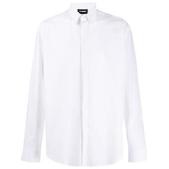 Les Hommes Lis803403p1000 Men's White Cotton Shirt