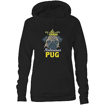 Womens Sweatshirts Hooded Hoodie- Notorious Pug