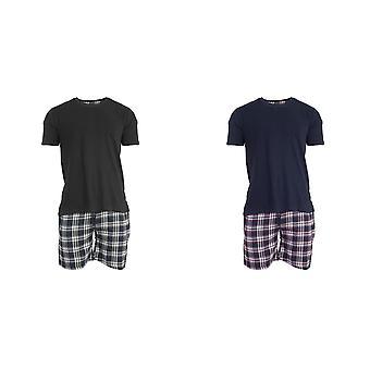 Brave Soul Mens Check Short Loungewear Set